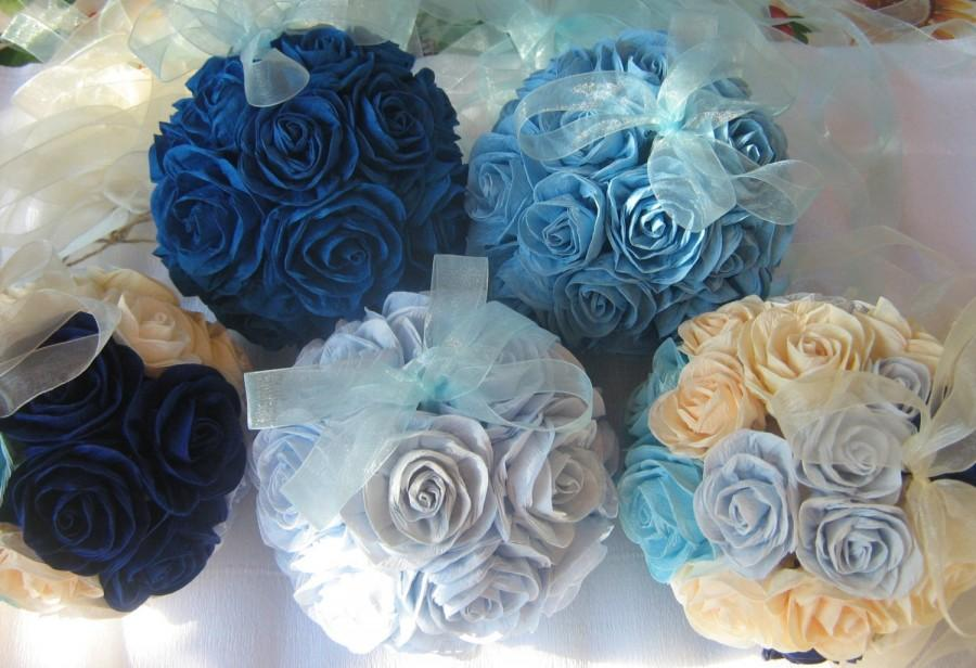 Wedding - Crepe Paper flowers ball kissing ball peacock Wedding hanging flower girl Bachelorette Royal Navy Blue ball baby boy shower decor beach