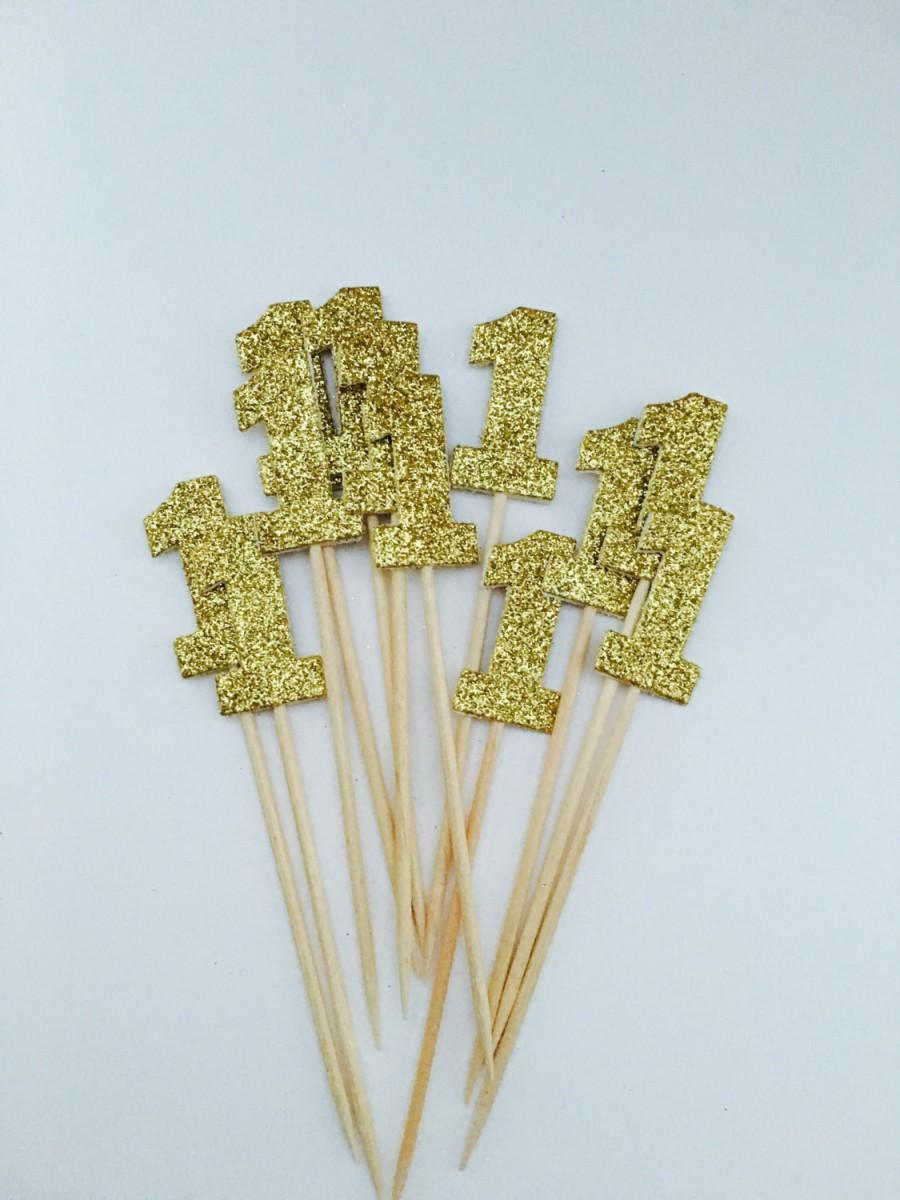 Wedding - Gold Number One Cupcake Toppers Baby's First Birthday Toppers Set Of 12 Number One Cupcake Toppers