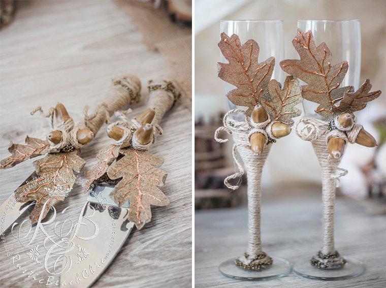 Wedding - Leaf wedding, personalized champagne flutes & cake serving,oak, ideas, barn wedding, country rustic wedding,  autumn wedding, acorn,  4 pcs.