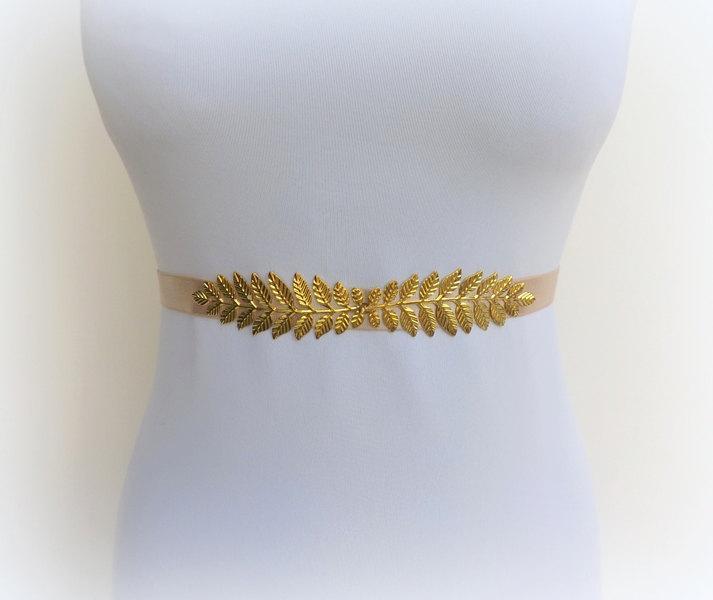 Wedding - Champagne elastic waist belt. Gold leaf belt. Dress belt. Grecian belt. Bridal belt. Bridesmaids belt. Greek belt. Stretch belt. Nude belt.