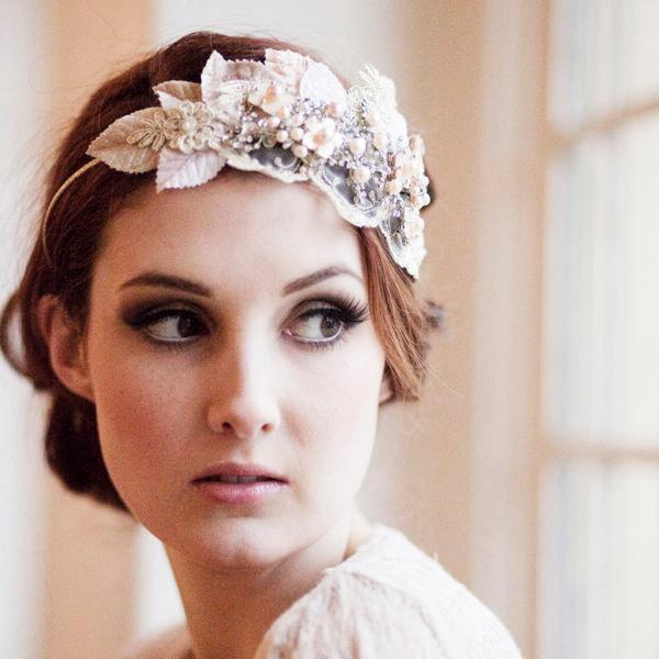 Wedding - Vintage Milliner's Velvet Leaf Bridal Headdress