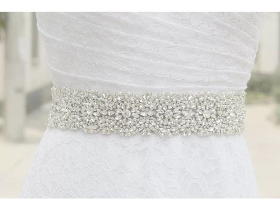 Wedding - 2.5 inches wide crystal and pearls beaded bridal sash, bridal belt, custom made sash