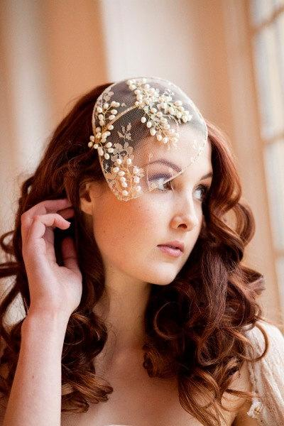 Wedding - Vintage lace and pearl bridal cap