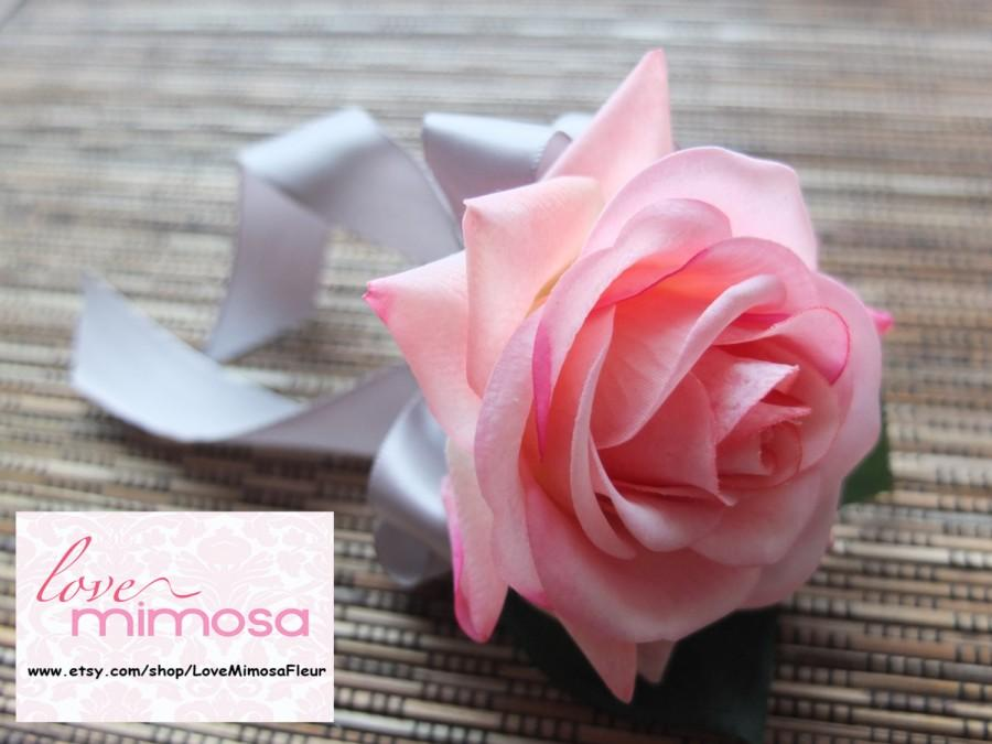 Wedding - Pink Rose Boutonniere, Pink Rose with silver gray ribbon and rhinestone accent