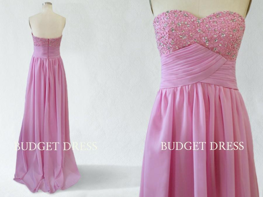 Düğün - Fashionable Desing Sweetheart Neckline Floor Length Chiffon Prom Dress with Bead Work Bridesmaid Dresses Prom Dresses - Rose Pink Bridesmaid