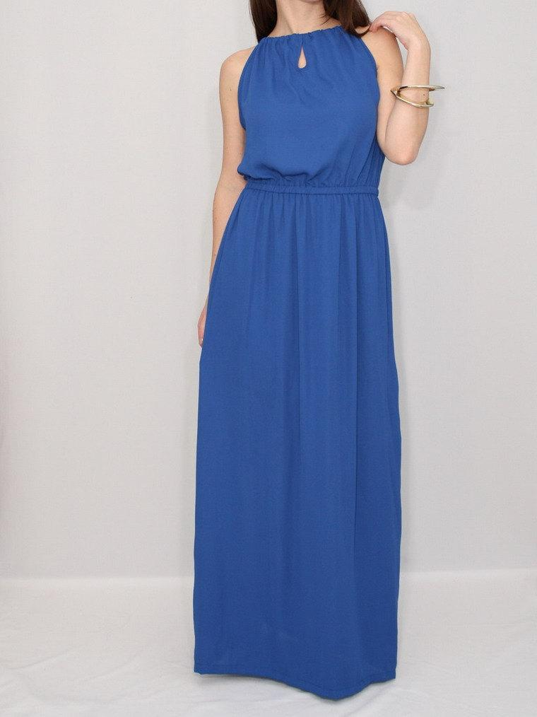 Boda - Cobalt blue dress Long bridesmaid dress Chiffon dress Prom dress