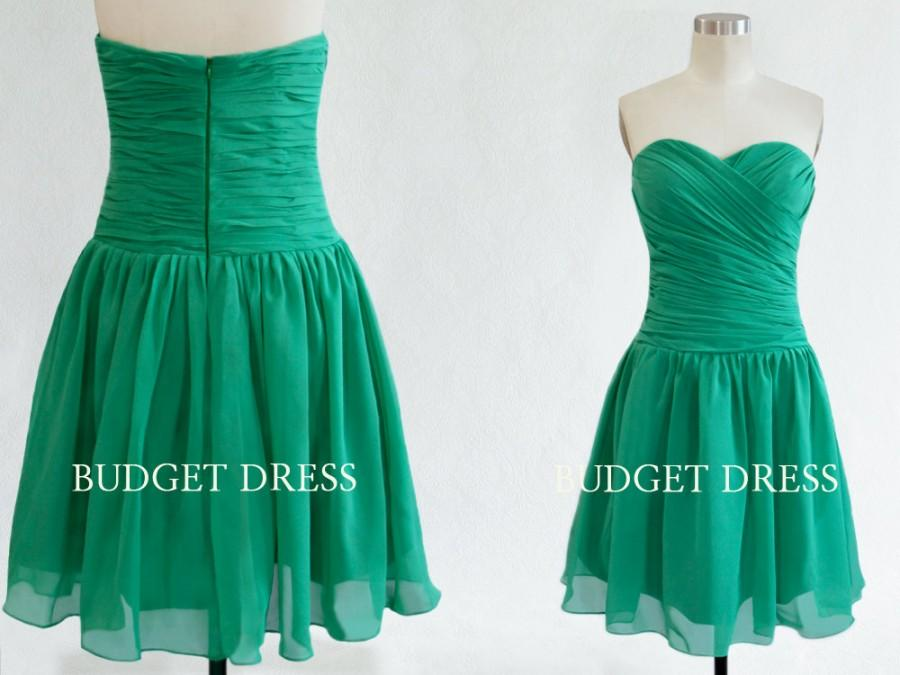 Hochzeit - Short Green Bridesmaid Dress with Sweetheart Neckline Chiffon Prom Dresses - Short Bridesmaids Dresses Chiffon Bridesmaid Dresses