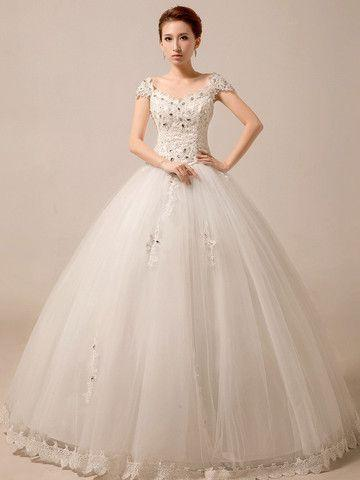 Düğün - Cap Sleeves Princess Ball Gown Wedding Dress Debutante Dress