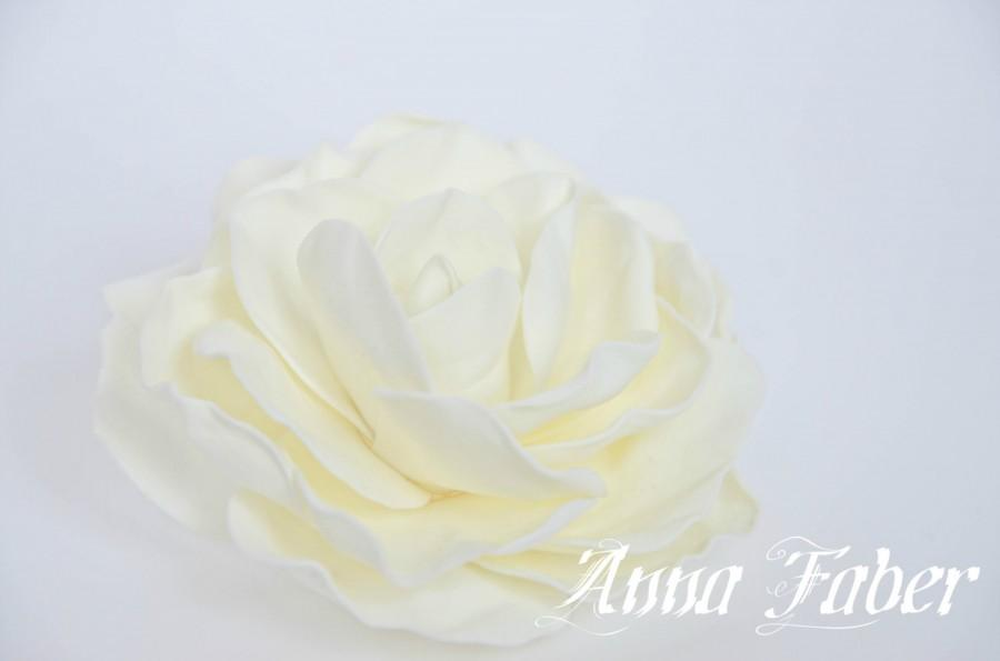 Düğün - Ivory wedding hair flower, Wedding hair clip, Bridal hairpiece, Wedding hair accessories, Foam bridal hair clip, Ivory rose hair flower