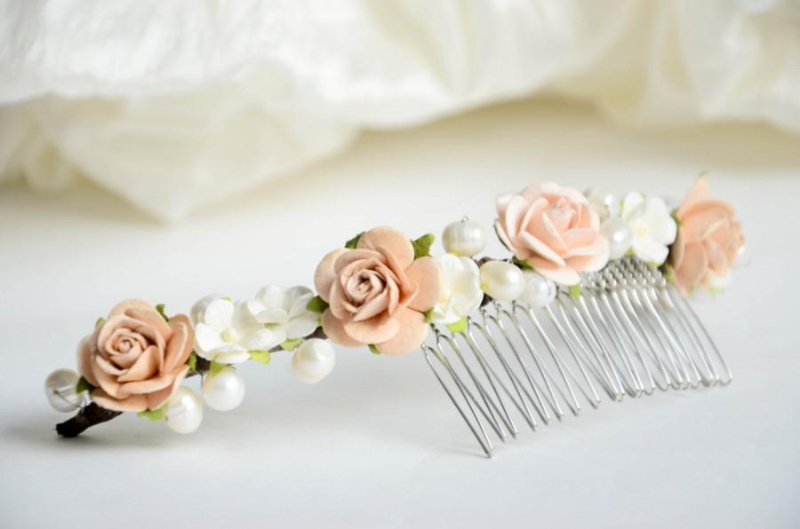 Düğün - Floral Bridal hair comb, Pearl hair comb, Wedding hair comb, Flower hair comb, Wedding hair accessories