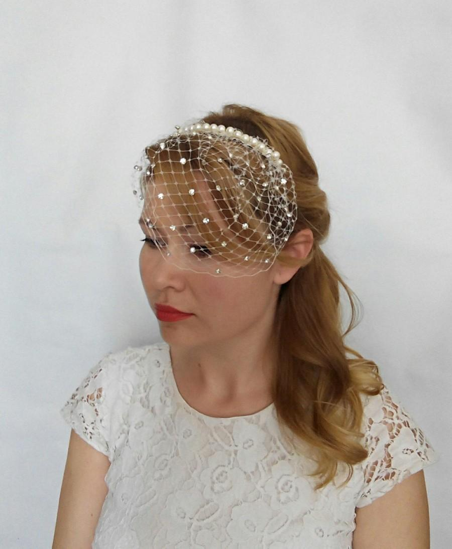 Wedding - Rhinestone Veil, Small Veil, Pearl Veil, Mini Veil, Birdcage Veil Headband with Rhinestone and Pearls, Bird Cage Veil