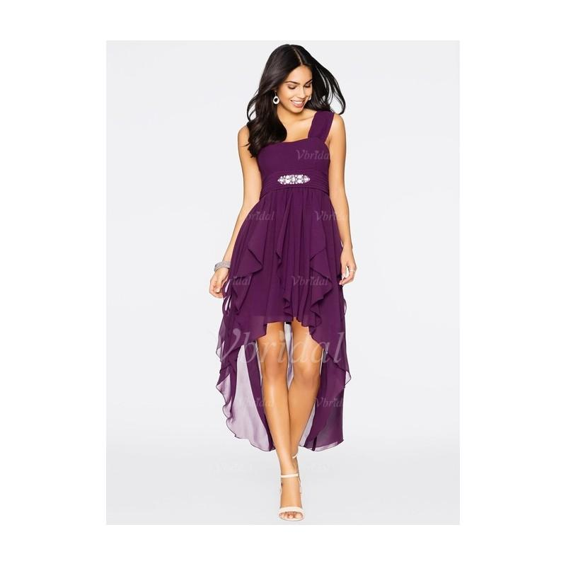 Mariage - A-Line/Princess Sweetheart Asymmetrical Chiffon Cocktail Dress With Ruffle Beading Cascading Ruffles - Beautiful Special Occasion Dress Store