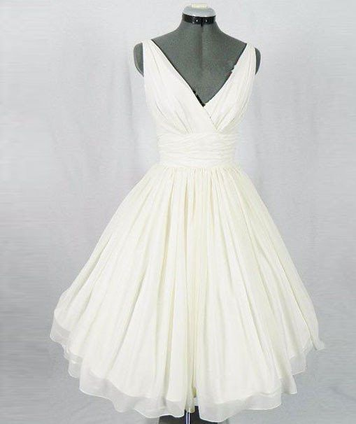 زفاف - Homecoming Dresses,white V Neck Ch