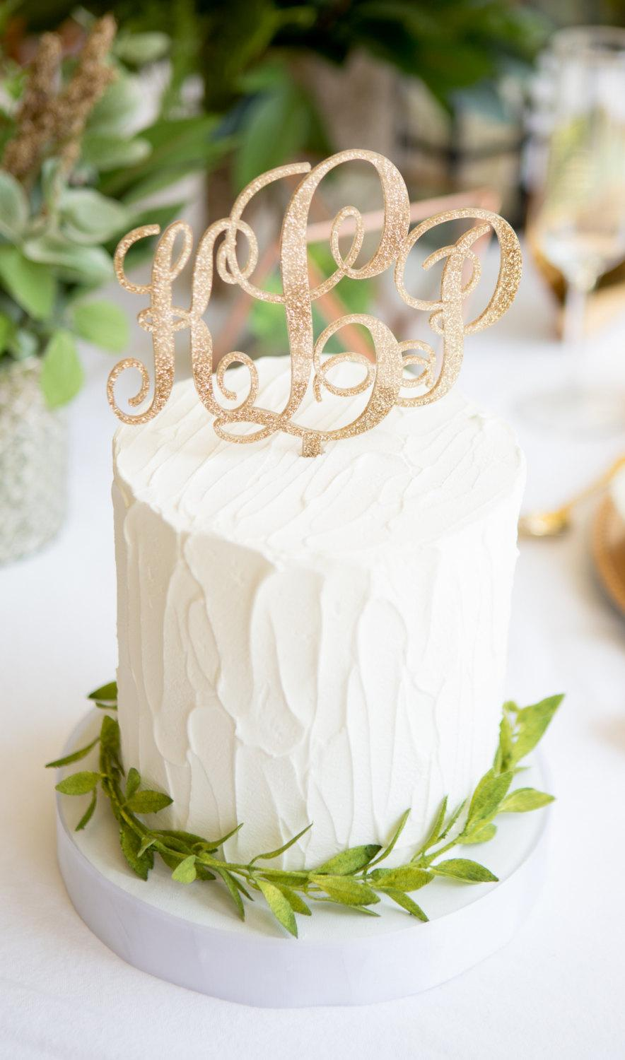 زفاف - Monogram Cake Topper for Wedding, Rustic Wood or Glitter Gold Cake Decor, Script Monogram Personalized for Wedding or Party (Item - MNT900)