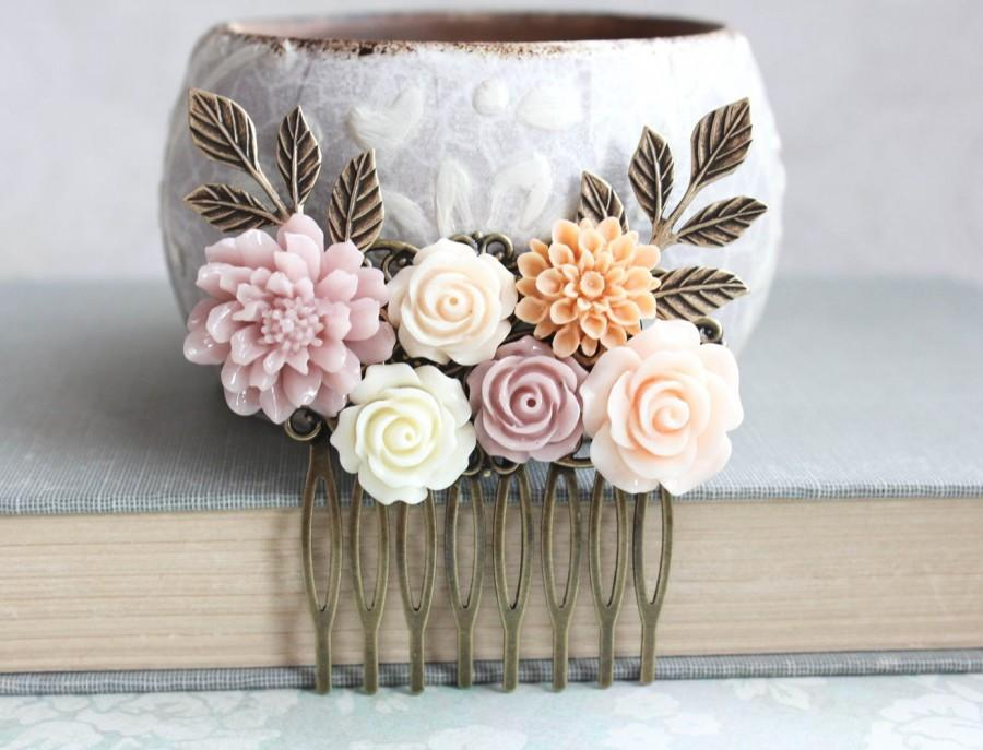Mariage - Mauve Bridal Hair Comb Peach Wedding Accessories Floral Collage Shabby Country Chic Dusty Rose Pink Bridemaids Gift Flowers for Hair