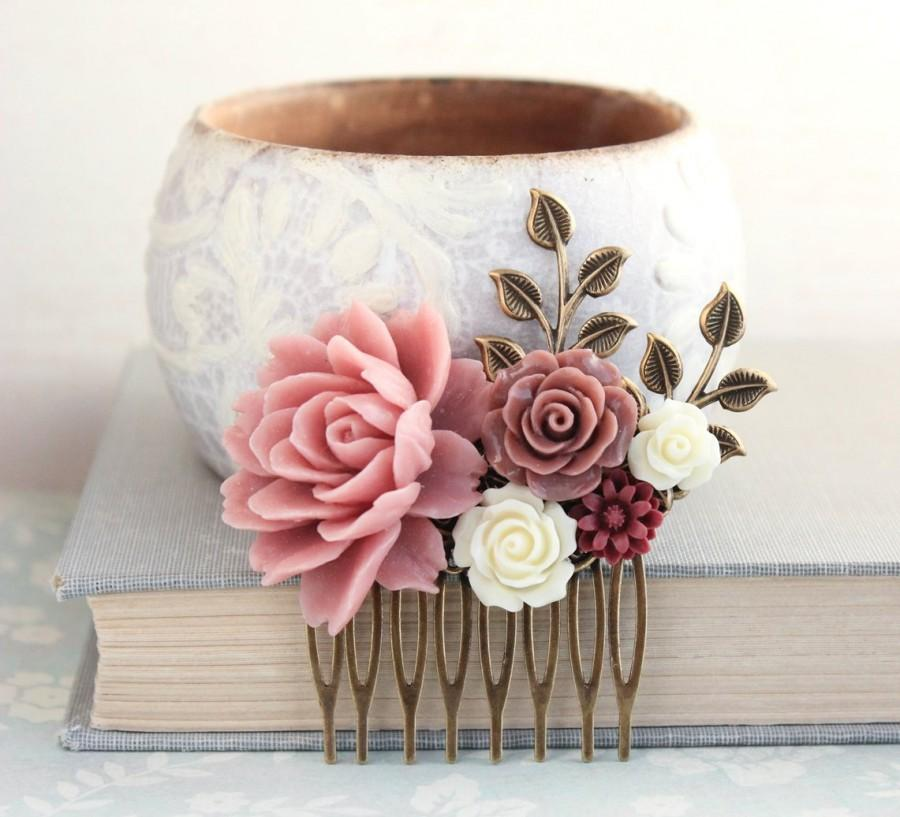 Wedding - Floral Hair Piece Dusty Rose Wedding Bridal Hair Comb Antique Brass Branch Flowers for Hair Bridesmaid Gift Romantic Vintage Style Big Rose