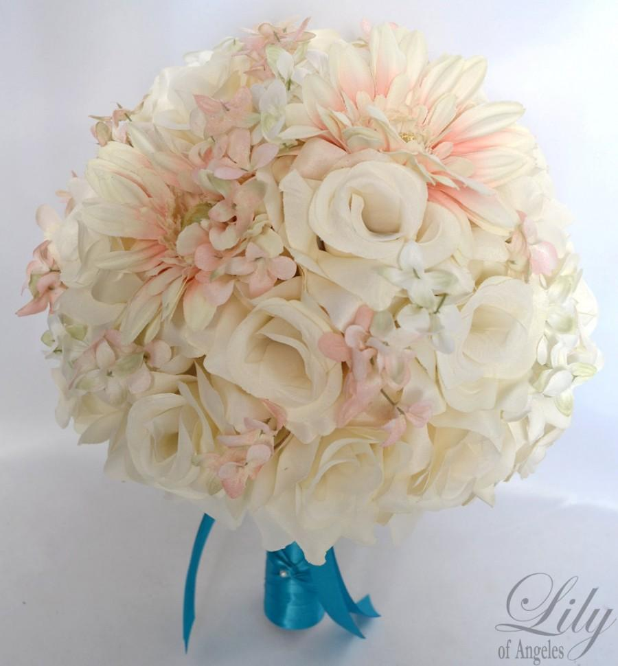 "Wedding - 17 Pieces Wedding Bridal Bride Maid Honor Bridesmaid Bouquet Boutonniere Corsage Silk Flower PEACH TURQUOISE MALIBU ""Lily Of Angeles"" TUPI01"