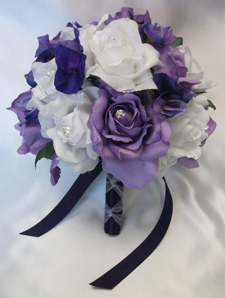 "Hochzeit - 17 Pieces Package Silk Flower Wedding Decoration Bridal Bouquet PURPLE LAVENDER ""Lily Of Angeles"""