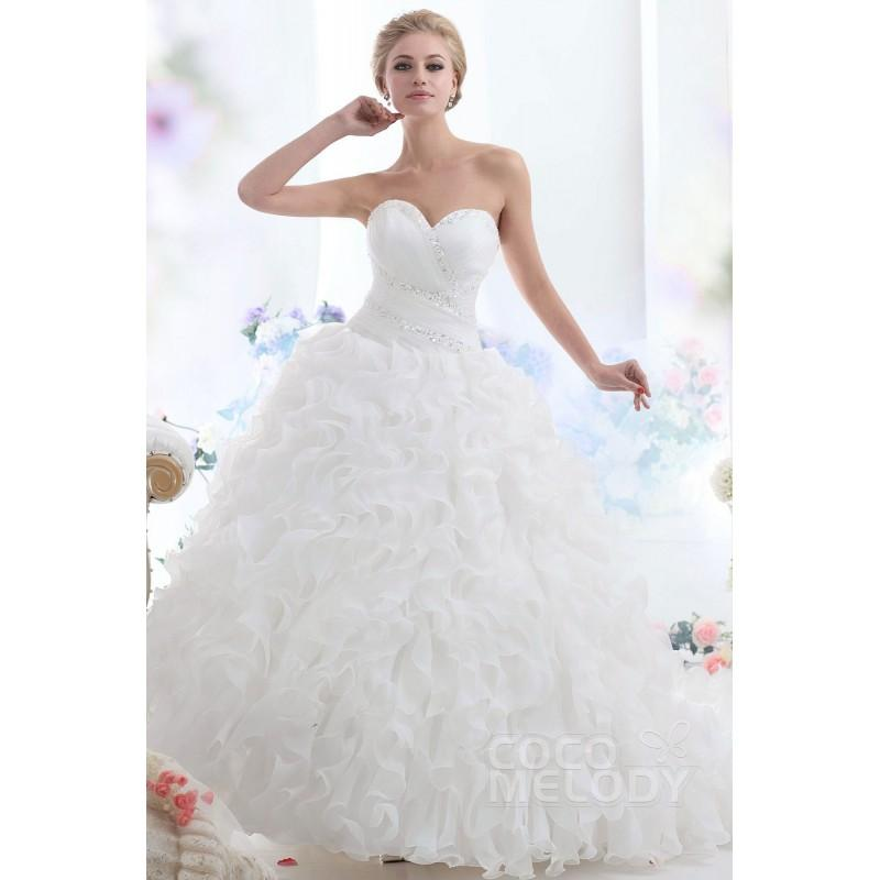 Boda - Sparkle Ball Gown Sweetheart Cathedral Train Ruffled Organza Wedding Dress CWLT13046 - Top Designer Wedding Online-Shop