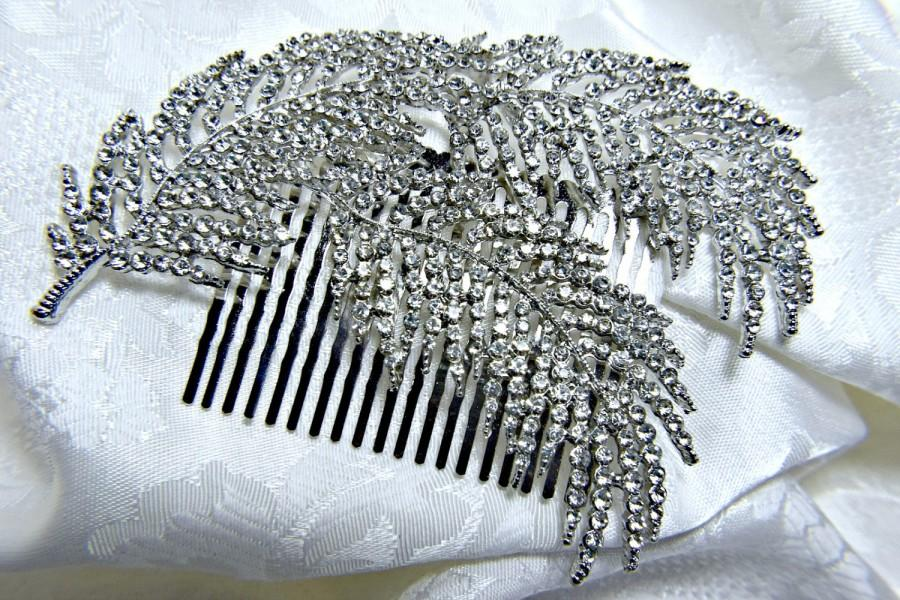 Wedding - art deco hair comb,  gatsby hair comb, 1920s roaring 20s crystal leaf hair comb,  gatsby wedding,  gatsby accessories, gatsby dress party