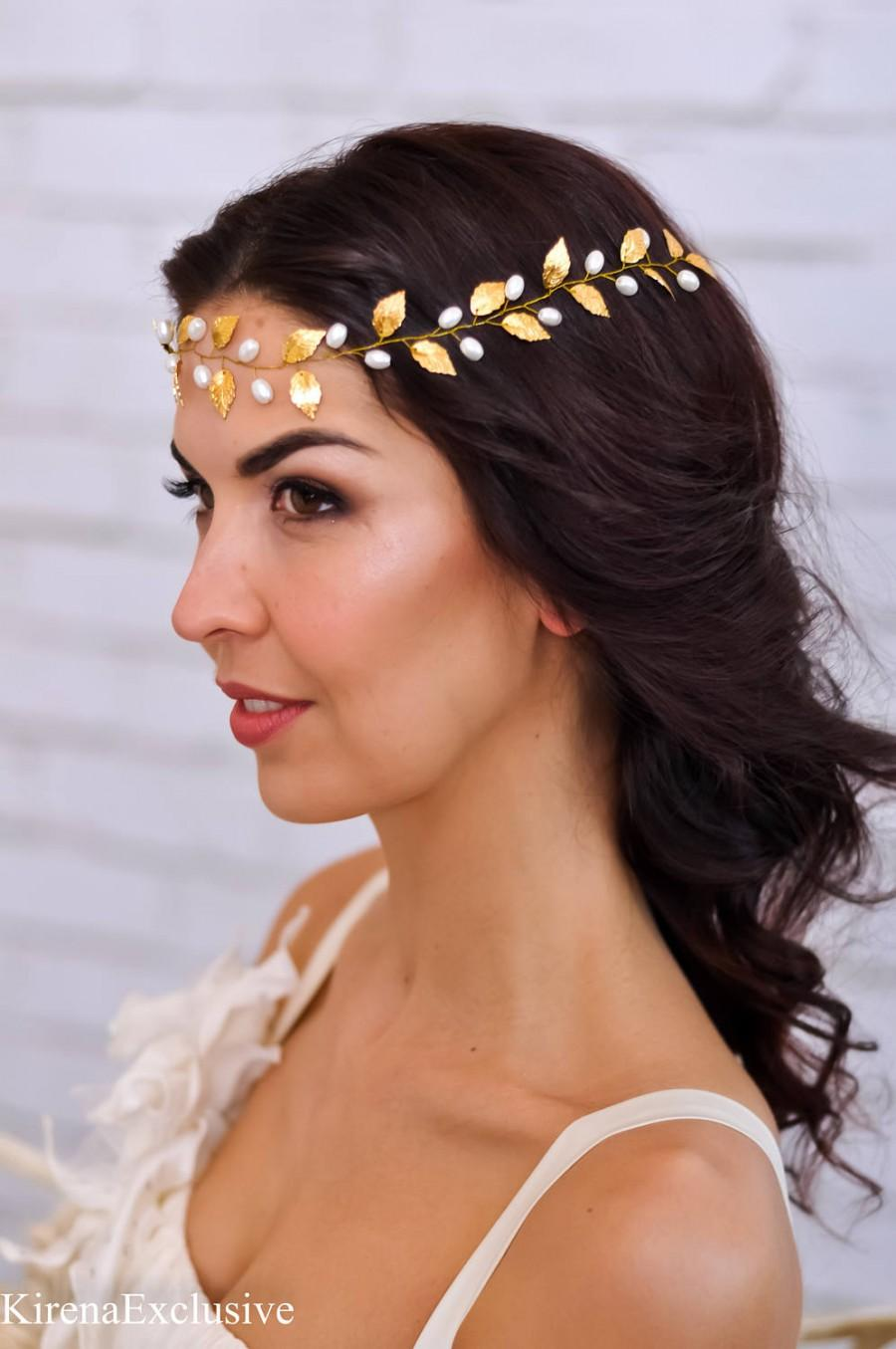 Hochzeit - Wedding tiara Bridal headband Wedding hair vine Bridal hair crown Bridal hair piece Wedding hair band Bridal flower hairpiece Gold leaf