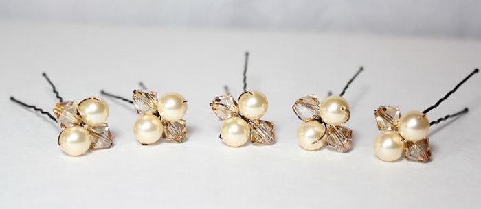 Mariage - Champagne Bridal Hairpins, Gold & Brown Hair Jewelry, Champagne Bridesmaids Hair Accessories, Gold Bridal Accessories, Champagne Wedding