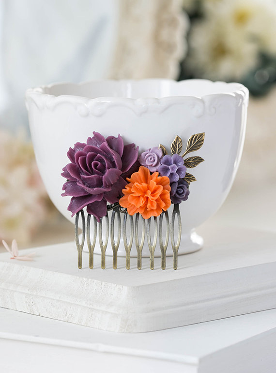 Mariage - Plum Eggplant Purple Orange Wedding Hair Comb Purple Tangerine Bridal Hair Comb Rose Flower Leaf Hair Comb Bridesmaid Gift Country Wedding