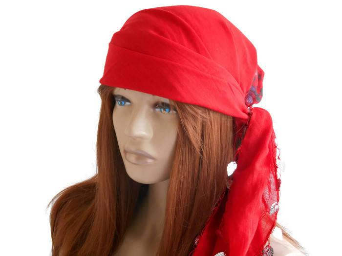 Düğün - Scarf bandana, Women Scarf, Women Bandana, Cotton Bandana, Turban Scarf, Bandana Headband, Women's Accessories, Red Scarf, Head bandana
