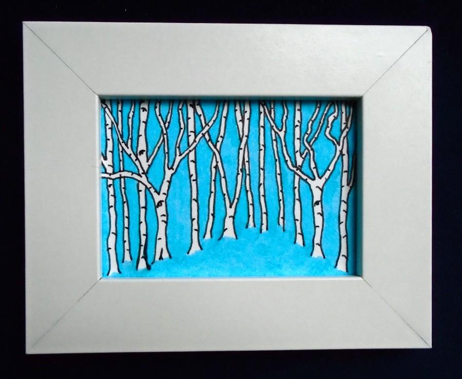 "Boda - Blue Birch Forest #229 (ORIGINAL MINIATURE PAINTING) 2.5"" x 3.5"" aceo in a 4"" x 5"" frame by Mike Kraus"