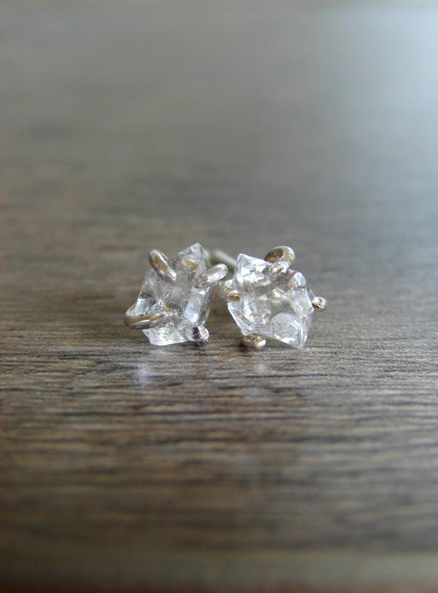 Boda - Herkimer Diamond Stud Earrings, Rough Crystal Jewelry, Bridal Wedding Earrings, April Birthday Gift, Girlfriend, Anniversary for Wife