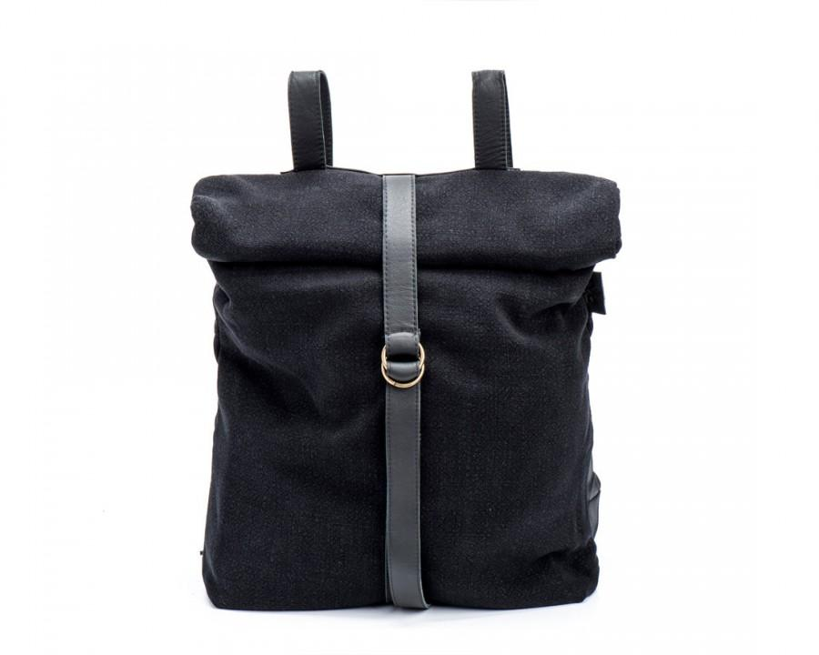 Wedding - New! Black Fabric Rucksack, Black Canvas Leather Backpack, Student Bag, Fabric Satchel - Black Bond