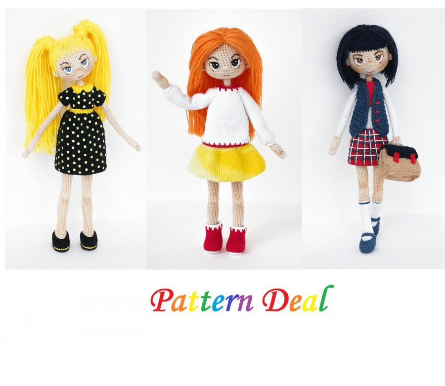 Düğün - Pattern Deal-Doll Doll Nikki and Alex Doll, crochet amigurumi Schollgirl doll crochet doll pattern amugurumi pattern