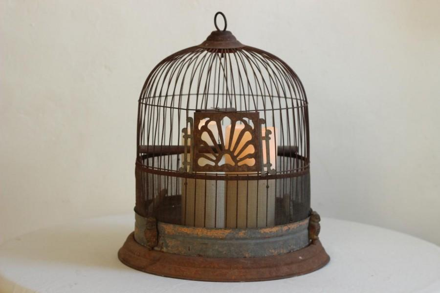 Boda - Charming Rare Antique Shabby Chic Rusty Metal Bird/Canary Cage With Owl Detail By Hendryx Circa 1910s / Époque Vintage