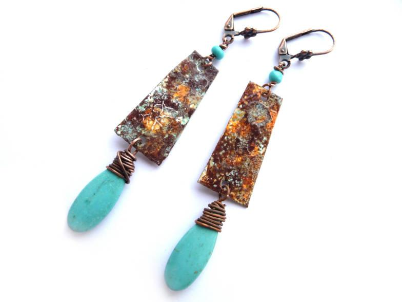 Wedding - Turquoise Earrings, Bar Earrings, Teardrop Earrings, Brown Earrings, Turquoise Brown, Earrings, Boho Earrings, Rustic earrings, Ethnic