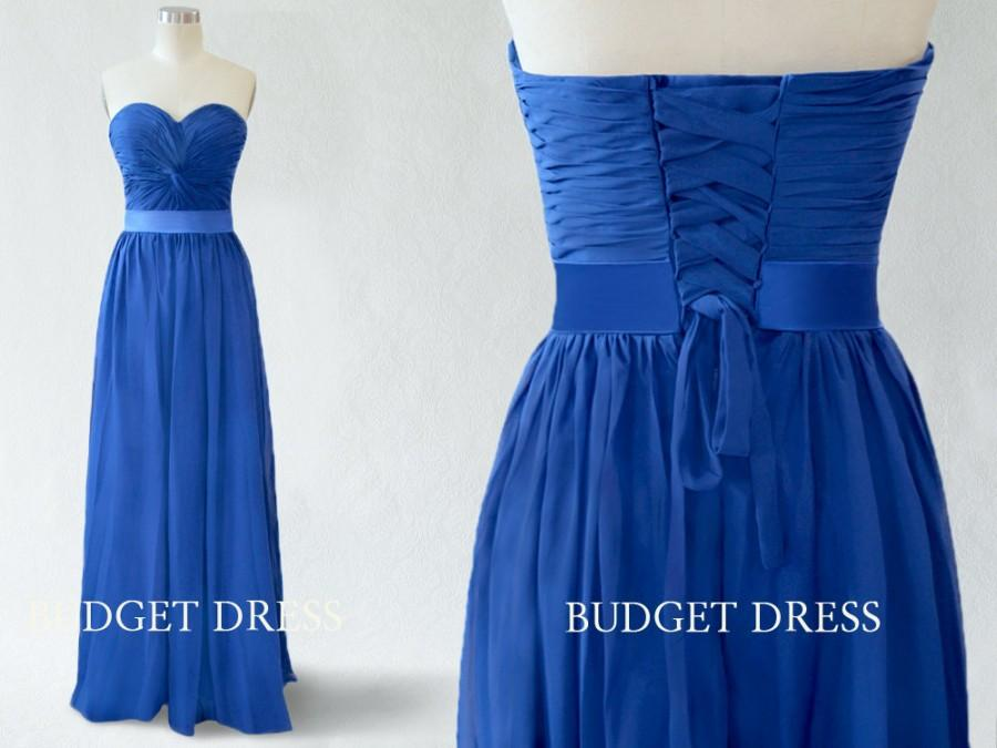 Wedding - A-line Sweetheart Blue Chiffon Floor Length Prom Dress with Lace-up - Bridesmaid Dresses - Long Prom Dresses - Royal Blue Maxi Prom Dresses