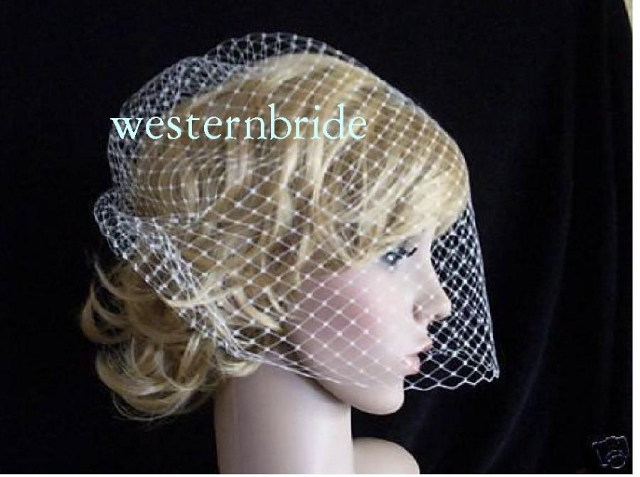 Wedding - Best seller On Sale Ivory Birdcage veil . Full veil made with Russian net . With comb ready to wear.