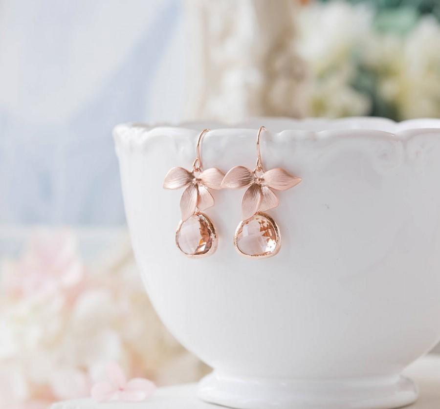 Свадьба - Bridesmaid Gift, Rose Gold Peach Champagne Earrings, Peach Wedding Rose Gold Wedding Earrings, Orchid Flower, Bridesmaid Earrings