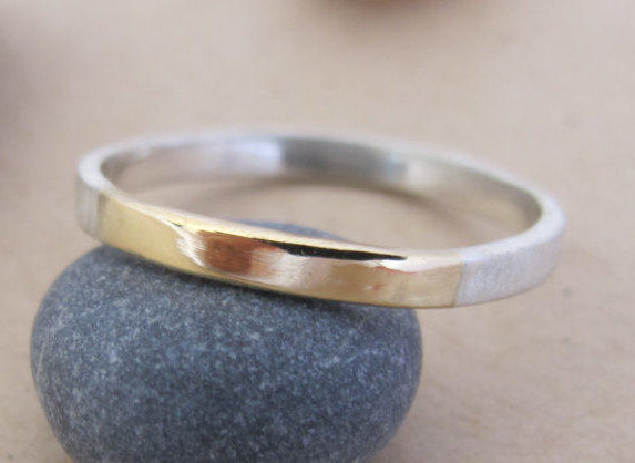 Hochzeit - Wedding Band, Mens Wedding Band, Unique Wedding Band, 2 mm Wedding Band, Two Tone Wedding Band, Wedding Band Mens, Gold and Silver Ring [P]