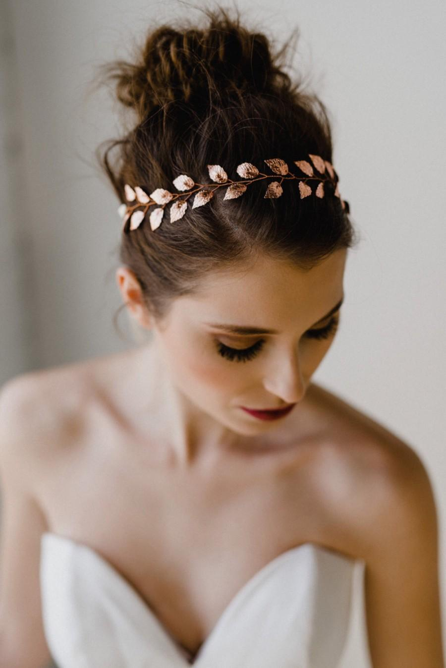 Wedding - Rose Gold Leaf Bridal Headband