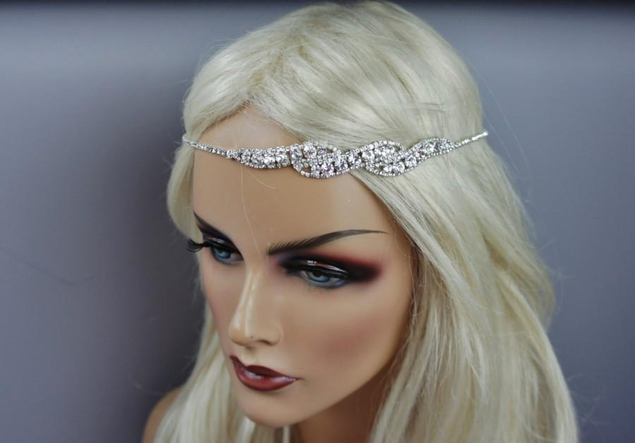Simple Art Deco Bridal Rhinestone Headband Head Chain Bohemian