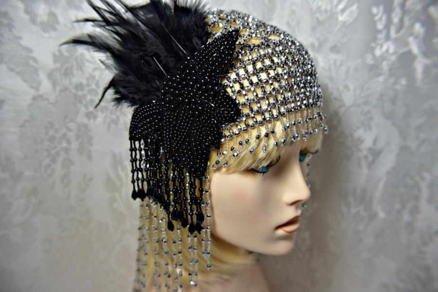 Wedding - GREAT GATSBY HEADPIECE Flapper 1920s Roaring 20s silver beaded headpiece with fascinator great gatsby wedding gatsby accessories dress party