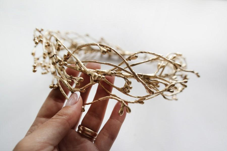 Wedding - Gold Wedding Circlet  Boho Bridal Headpiece Twig Crown Botanical Golden Twigs Headband Gold Wedding Crown