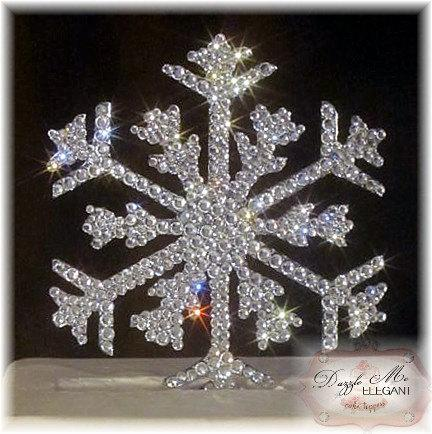 Wedding - Snowflake Cake Topper - Wedding Cake Topper - Crystal Cake Topper - Bride and Groom