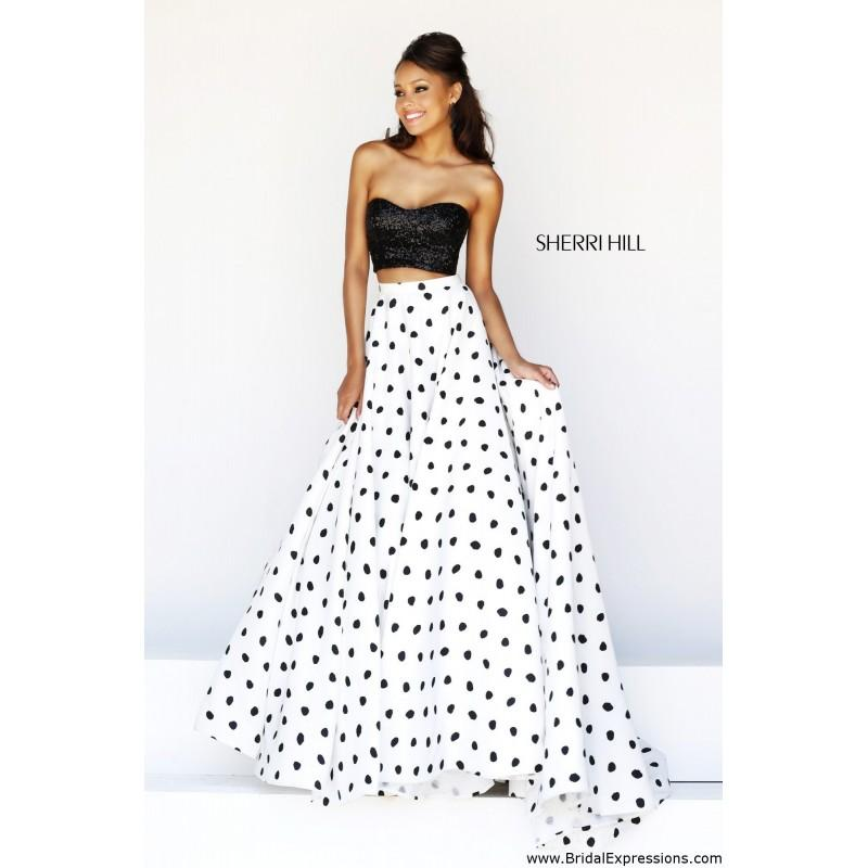 2a559fbbad2 Sherri Hill 21259 Two Piece Polka Dot Prom Dress - Crazy Sale Bridal Dresses