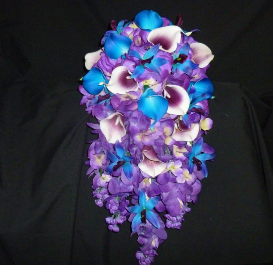 Cascading Bridal Bouquet, Royal Blue And Royal Purple Picasso Callas ...