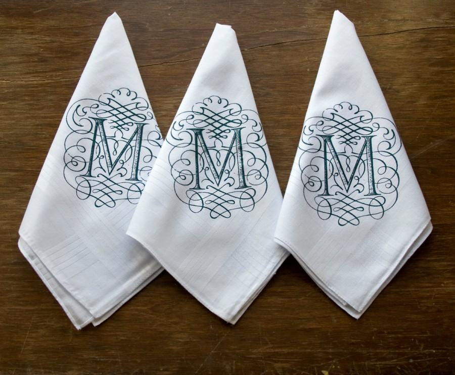 Свадьба - Initial handkerchiefs, pack of 3. Personalized initial white pocket squares. Filigree font. Single letter, 100% cotton hanky.