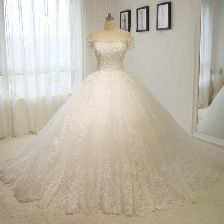زفاف - Luxury Long Train Puffy Ball Gown L
