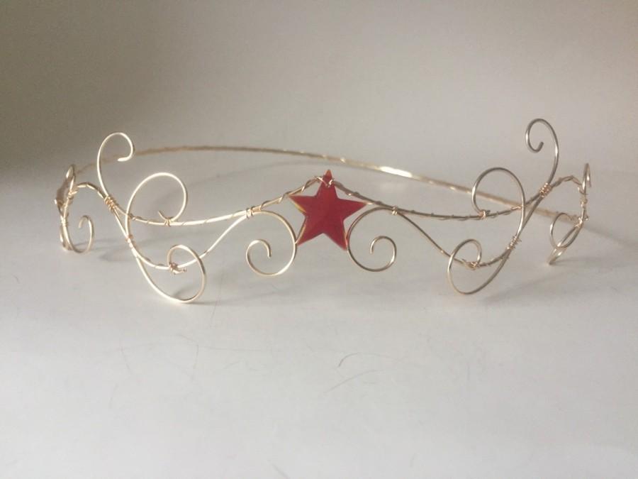 Wedding - Red star tiara-gold wonder women inspired