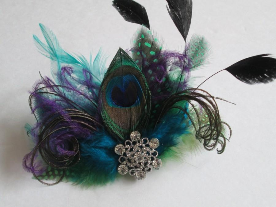 Wedding - Peacock Feather Wedding Fascinator, Teal Blue Bridal Head Piece, Purple Feather Hair Piece, Masquerade Wedding, Dance Costume, Accessory