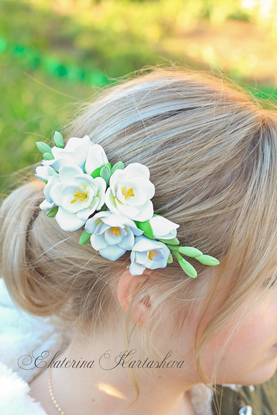 Wedding - bridal headpiece, freesia wedding hair, bridal hair comb, floral crown, wedding hair pieces, hair pin, wedding accessories, bridal accessory